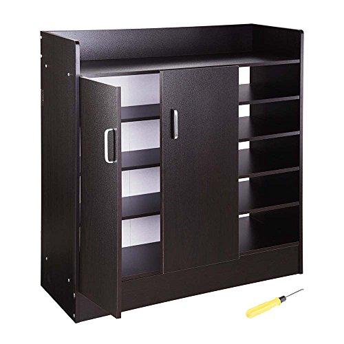 Yescom 31.5''x12''x35'' Shoes Cabinet 2-Door 18 Pairs Storage Organizer Removable Shelves Entryway Hallway Blackwalnut by Yescom