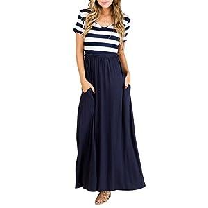 TECREW Women's Striped Floral Print Boho Long Maxi Dress 3/4 Sleeve Tie Waist with Pockets D-Navy