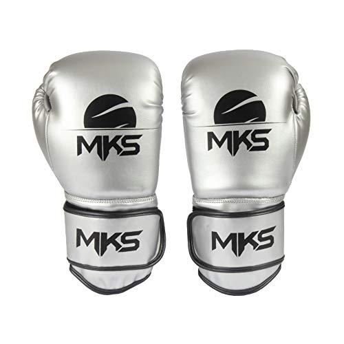 Luva de Boxe Energy, Tamanho 14Oz,MKS, Prata Metálico