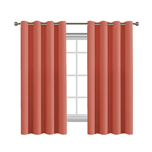 Flamingo P Room Darkening Coral Curtain Drapes Energy Efficient Solid One Panel Thermal Insulated Girls Room Curtain (Set of 1 Panel, 52 by 63 Inch,Coral) (Flamingo Coral)
