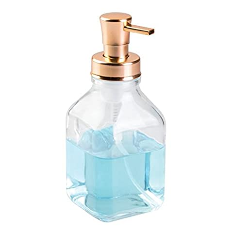 mDesign Glass Foaming Soap Dispenser Pump, for Kitchen or Bathroom Vanities - (Bronzo Rame Accenti)