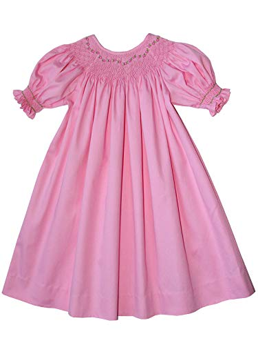 Girls Hand Smocked Pink Easter Bishop Dress Infant Toddler Birthday Clothing