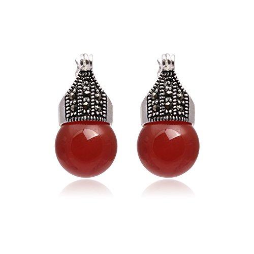 GEM-inside Earrings Red Jade Earrings Round Ball Gemstone Beads Cute Tibetan Silver Fashion Jewelry for Woman 12mm