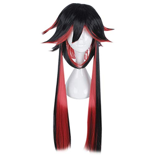(Wigs for Women Hair Fashian Cosplay Wig Special Outer Shape Styling Long Hair Cos Mixed Color Wig Mafia Series Anime Wig (Color : Black and red)