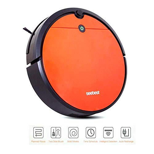 AMZBSTSDJ Robotic Vacuum Cleaner, with Mop and Water Tank, Super Slim, Extremely Quiet, Self-Charging Cleaning Robot and Anti-Collision Technology for Thin Carpet Hard Floor (Orange)