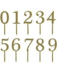 Gold Acrylic Numbers 0-9 Cake Toppers Table Numbers 5 Tall in Total Set of 10 for Wedding Anniversary or Birthday Party Decorations, Handmade and Sold by Soccerene