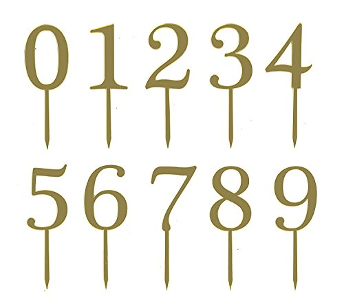 Gold Acrylic Numbers 0-9 Cake Toppers Table Numbers 5