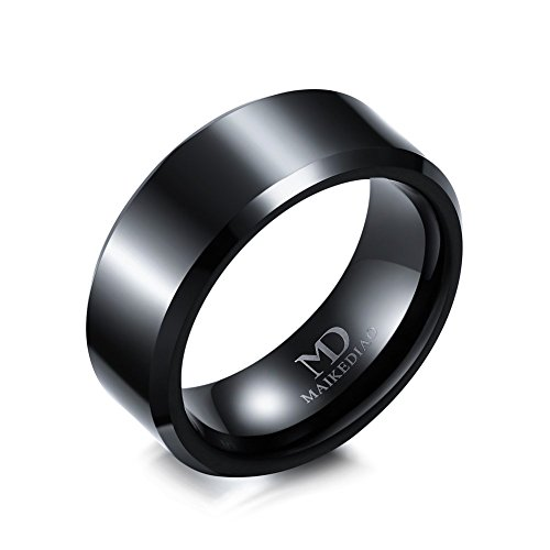 (8mm/6mm/4mm Black Tungsten Carbide Wedding Couple Rings Engagement Band For Men Women Beveled Polished Edge)