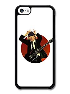 MMZ DIY PHONE CASEACDC Angus Young Illustration with Guitar Showing Horns case for iphone 6 4.7 inch