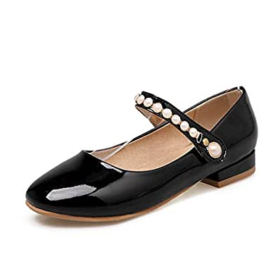 BalaMasa Womens APL11782 Jewels Square Heels Solid Black Pu Mary Jane Heels - 2.5 UK (Lable:34)