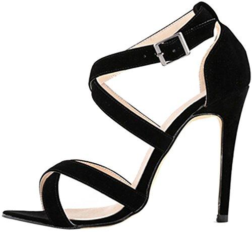 Mujer Camountain Sandalias vestir Zapatos 12CM Tacón Aguja Negro Hebilla de Calaier Sintético De dgwfUndxq