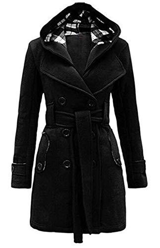 Automne Mode Parka Ladies Coat Hiver Schwarz Elegant Pure Vêtements de Trench Color Targogo F06Pw6