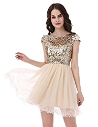 Short Tullle Sequins Homecoming Dresses