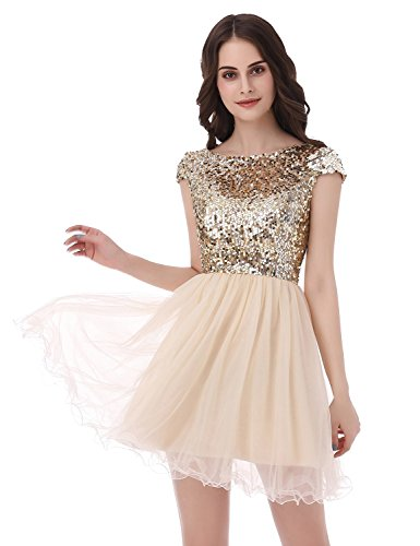 Belle House Junior's Short Cap Sleeve Prom Gowns Gold White Homecoming Dresses