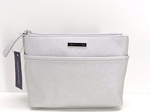 Tommy Hilfiger Cosmetic Bag Case Silver Metallic Zip Makeup Bag Pouch
