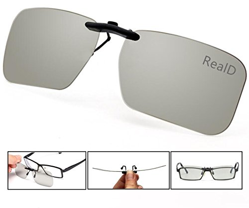 Projector Theater No Lens (3D Viewing Surprise For Eyewear Users | Square 3D Glasses Clip On Glasses For Movie/Cinema/Theater/3D TV/3D Projector | 100% NO visual interference | Lightest And Most Comfortable | (RealD))