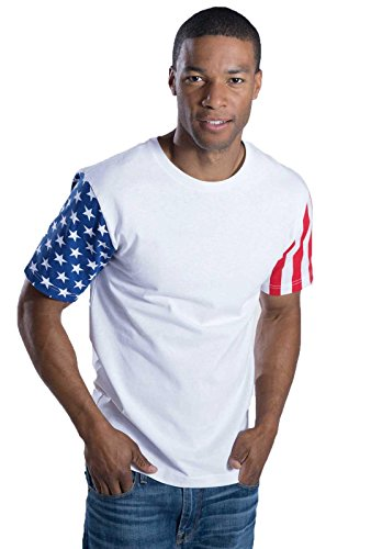Code Five Men's 100% Cotton Crew Neck Short Sleeve Stars and Stripes - Star All Cotton T-shirt