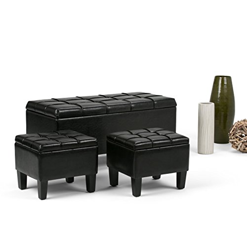 WyndenHall Lancaster 3-piece Storage Ottoman Set (Set of 3) Black Faux Leather, Wood, Foam by Wynden Hall