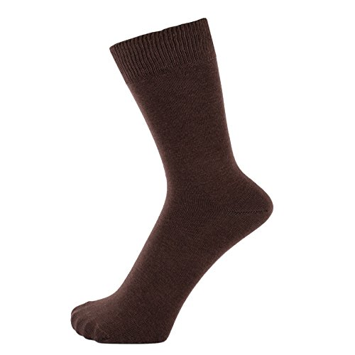 - ZAKIRA Finest Combed Cotton Dress Socks in Plain Vivid Colours for Men, Women, 7-12 (US), Brown