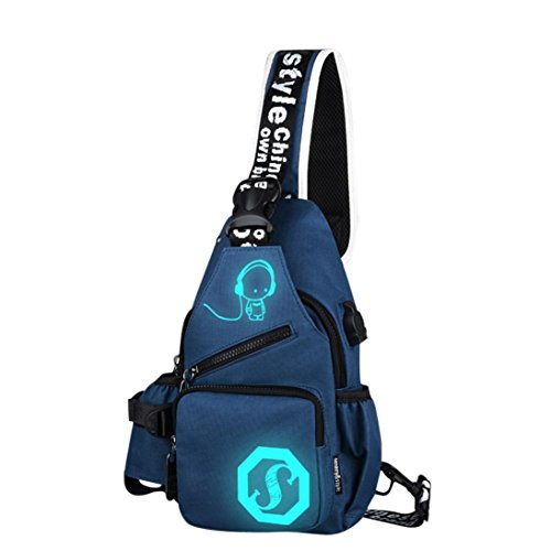 Handbag, Hunzed Unisex Light Preppy Teenagers Noctilucent Shoulder Bag Cartoon Backpack Women Chest Crossbody Crossbody Bag (Blue)