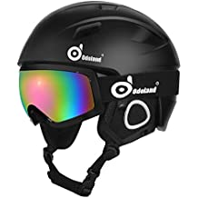 Odoland Snow Ski Helmet and Goggles Set, Adult Sports Helmet and Protective Glasses - Shockproof/Windproof Protective Gear for Skiing, Snowboarding, Motorcycle Cycling and Snowmobile