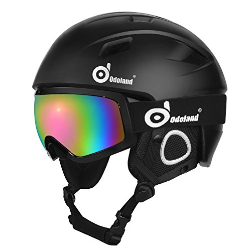 Odoland Snow Helmet Set with Ski Goggles, Unisex Snow Sports Helmet & Goggles, Shockproof & Universal Fit, Protective Helmet & Goggles for Skiing Skating Snowboarding & More Winter Outdoor - Snow Shape Ski
