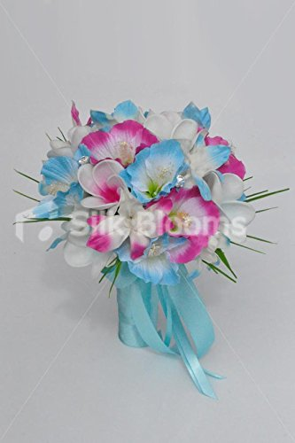 Tropical-Artificial-Fresh-Touch-Pink-Centred-Frangipani-Bridal-Bouquet-with-Pink-and-Blue-Silk-Hibiscus