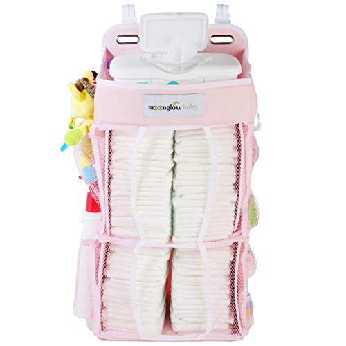Nursery Diaper Organizer (Now w/Double The Diaper Storage) | Baby Essentials Caddy and Hanging Organizer | Attaches to Crib, Playard, or Changing Table (Pink) from MoonGlow Baby