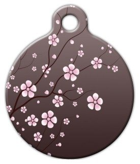 (Asian Cherry Blossom - Custom Pet ID Tag for Dogs and Cats - Dog Tag Art - SMALL SIZE)