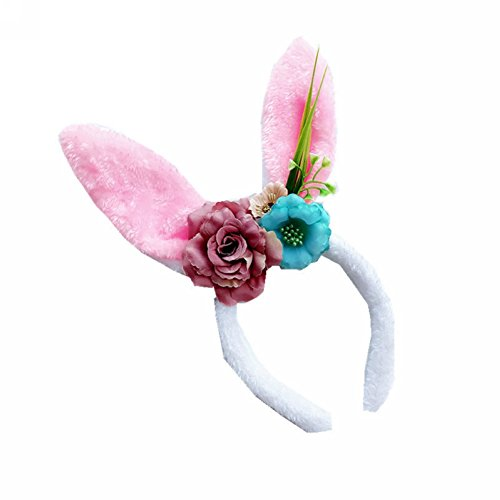 CHUANGLI Baby Ears Headband Bunny Ears Hairband With Flower Crown Headwear Kids Baby Cosplay Plush Headdress
