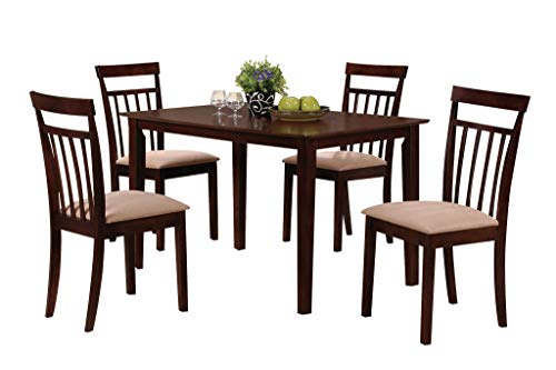 Major-Q 5Pc Pack Transitional Style Contemporary Espresso Finish Set with Rectangular Dining Table and Microfiber Padded Seat Side Chairs, 9070325