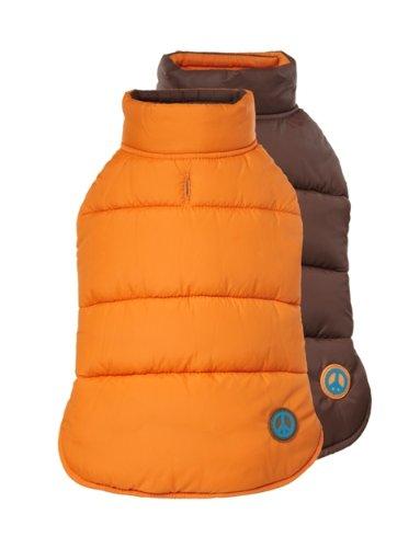 Fab Dog Reversible Puffer Vest Dog Jacket, Peace Orange/Brown, 14