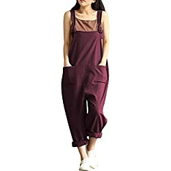 Yeokou Women's Linen Wide Leg Jumpsuit Rompers Overalls Harem Pants Plus Size (X-Large, Style12Red)
