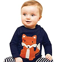 Toddler Kids Baby Girls Boys Soft Cotton Cartoon Animal Tops, Long Sleeve Crewneck Pullover Striped Tee Shirt 1-6T