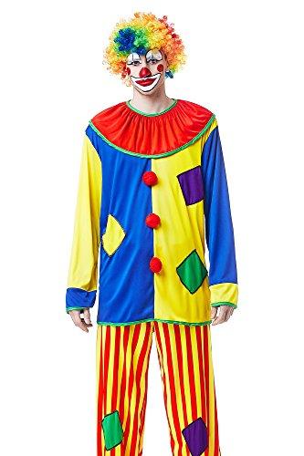 Adult Unisex Circus Clown Halloween Costume Funny Harlequin Dress Up & Role Play (Medium/Large)