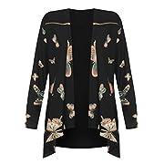 Rimi Hanger Womens Full Sleeve Butterfly Print Waterfall Jacket Ladies Zip Shoulder Cardigan AU 14-28