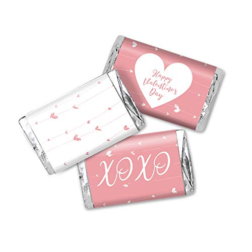 Valentines Candy Bar (Valentine's Day Hanging Hearts Favor Stickers, Miniatures Candy Bar Wrapper Labels, 54 Total)