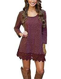 Women's Short Sleeve Pockets Loose T-Shirt Dress Casual Swing Lace Summer Dress