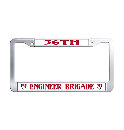- License Plate Frames, Retro 36th Engineer Brigade Automotive decoration Car Plate frame, US Military Waterproof Stainless Steel Car tag frame for men Fits All US & CA License