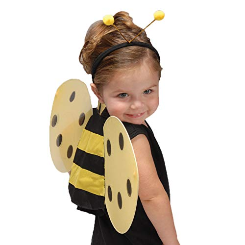 GiftExpress Honey Bee Wings & Headband Antenna Costume Set, Bumblebee Costume, Halloween Costume Set for Kids and Toddlers]()