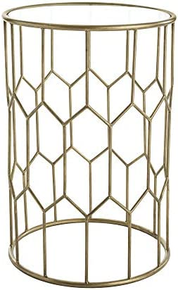 Adore Decor Harper Modern Glass and Metal Side Table