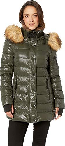 (S13 Women's Chelsea Mid Length Down Puffer with Faux Fur Hood, Dark Military, Medium)