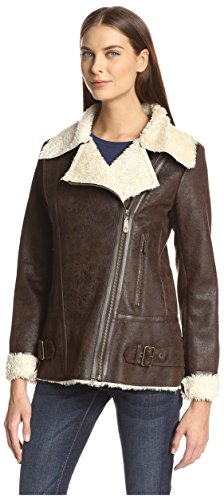 Vince Camuto Women's Faux Shearling Jacket, Dark Brown/Cream Sherpa, S