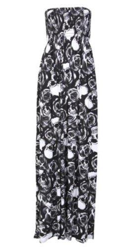 Printed Maxi Tube Dress (New Womens Plus Size Boob Tube Printed Sheering Summer Maxi Dress 8-26 ( Skull And Rose Print, S ))