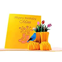 iGifts And Cards Awesome Happy Birthday Mom 3D Pop Up Greeting Card - Celebration, Congratulations, Half-Fold, Flowers, Special, Beautiful, Best Wishes, Unique, Fun