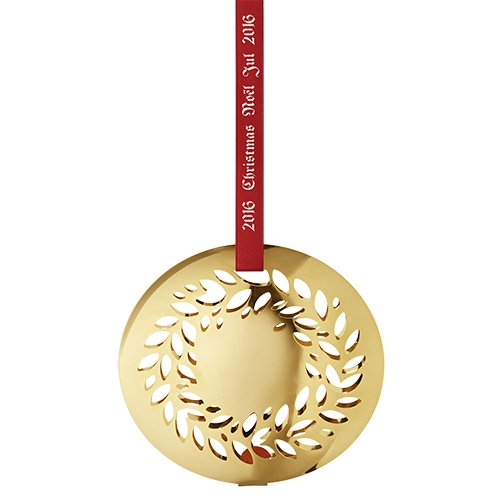Georg Jensen 3410216 Annual Christmas Ornament 2016, Magnolia Wreath (Gold Plated)