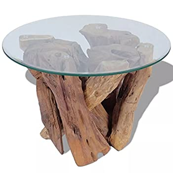 """Daonanba Unique Style Handmade Coffee Table Solid Teak Natural Home Furniture Durable Stable 23.6"""" Style A"""