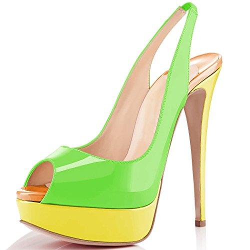 uBeauty Damen Stilettos Slingback Fußgelenkriemchen Sandalen mit Plateau Peep Toe Multicolor Schuhe Grün B