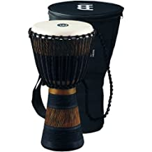 Meinl Percussion ADJ3-M+BAG African Style Rope Tuned 10-Inch Wood Djembe with Bag, Brown/Black