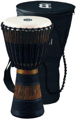 Meinl Percussion ADJ3-M+BAG African Style Rope Tuned 10-Inch Wood Djembe with Bag, Brown/Black by Meinl Percussion